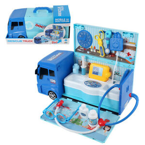 2 in 1 Portable Doctor Pretend Role Play Set Medical Kit Rescue Vehicle Kids Toy