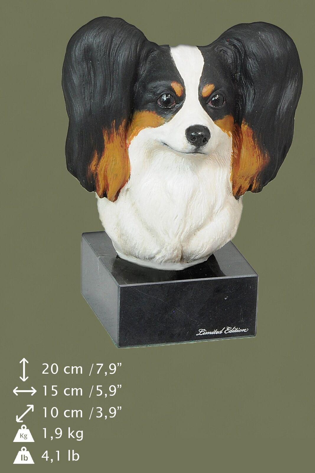 Papillon - dog painted figurine on marble base, high quality, Art Dog