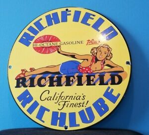 VINTAGE RICHFIELD GASOLINE PORCELAIN GAS SERVICE STATION CALIFORNIA PUMP SIGN