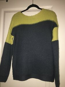 Details about UNIF Two tone gray yellow Knit sweater size XS, SOLD OUT, RARE, UNIQUE