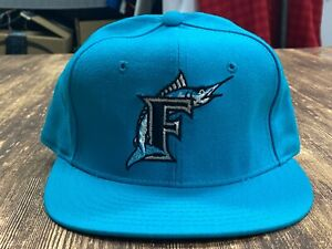 VTG Florida Marlins Teal MLB Diamond Collection Baseball Hat New Era Size 6 5/8