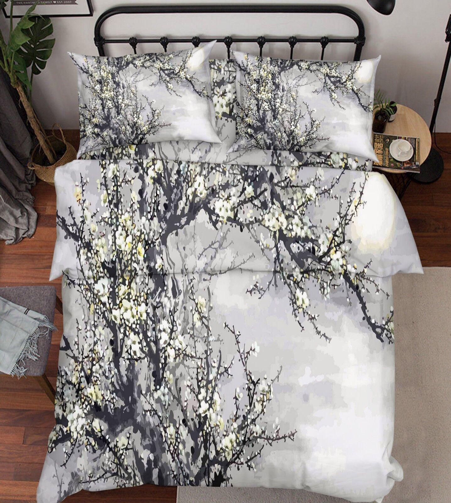 3D Plum Clouds 676 Bed Pillowcases Quilt Duvet Cover Set Single King UK Lemon