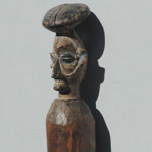 an antique old ceremonial carved figural circumcision post statue yaka congo #1