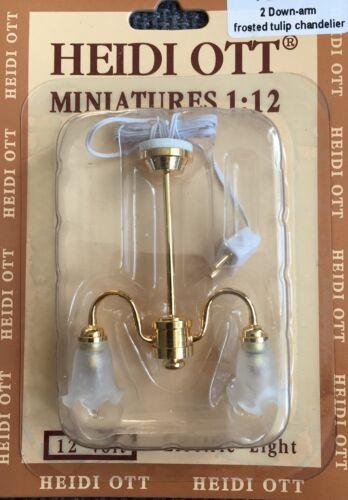 illuminazione Casa delle Bambole Miniatura 2 braccio verso il basso TULIP SMERIGLIATO Lampadario Regno Unito