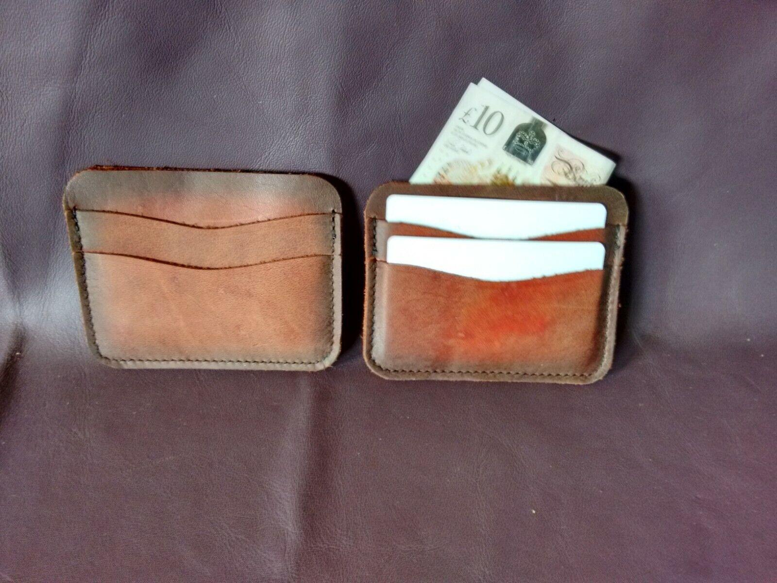 Leather card holder,rustic slim wallet,5 pockets with darkened edges, UK made