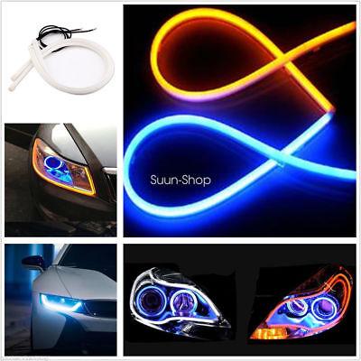 Amber 2x 60CM Switchback Headlight LED Strip DRL Daytime Light Tube Dual White