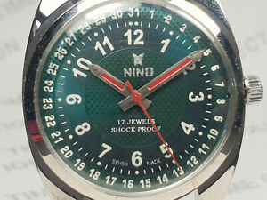 Vintage-Nino-Mens-Analog-Dial-Mechanical-Handwinding-Movement-Wrist-Watch-OG204