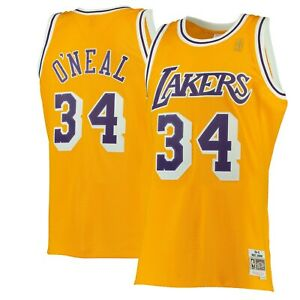 buy popular f3720 0356f Image is loading Shaquille-O-039-neal-34-Los-Angeles-Lakers-