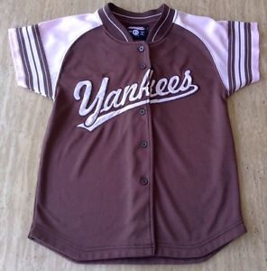 510d5931b22 MLB NEW YORK YANKEES JETER  2 JERSEY SHIRT YOUTH GIRLS PINK BROWN ...