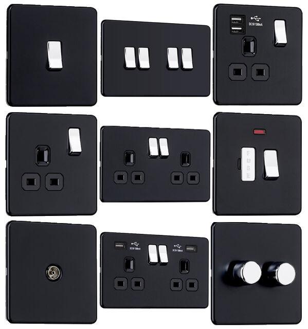 EXCLUSIVE PROMOTION Screwless Flat Plate Switches & Sockets Matt Black & Chrome