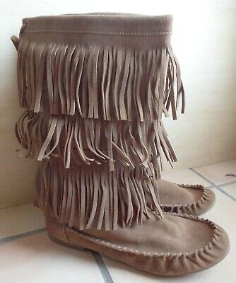 best wholesaler good texture special section STEVE MADDEN Takoda Brown Suede Leather Fringed High Moccasin ...