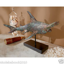 """17.5"""" HAMMERHEAD SHARK DISTRESSED HUED TEAL WOODEN SCULPTURE MOUNTED HOME OFFICE"""