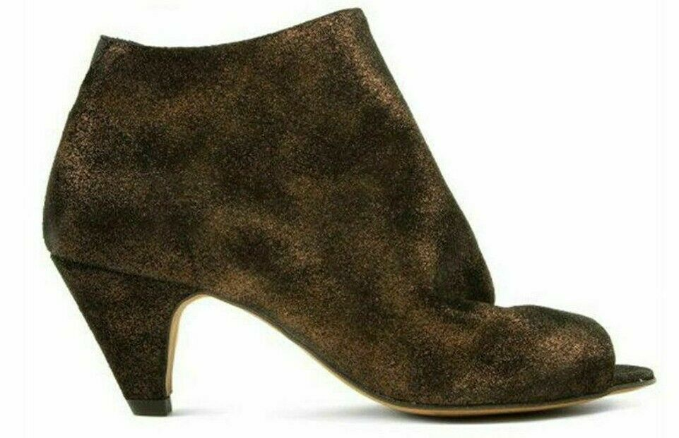 H By Hudson Metallic Peep Toe Ankle Leather Heeled Slip On Dress Stiefel 4 37 New
