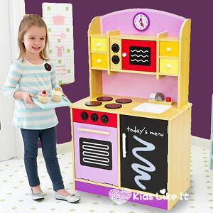 Large girls 101cm purple wooden kids kitchen pretend play for Kids kitchen set for girls