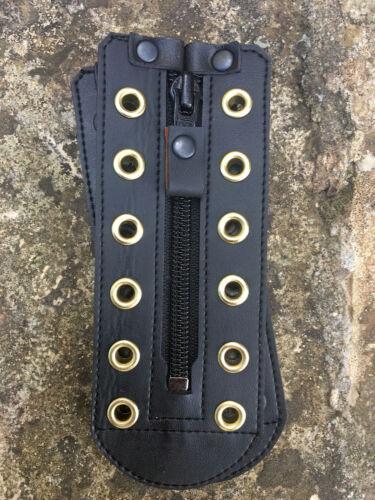 Faux unisex BLACK leather Zipper lace 5-20 holes color eyelets