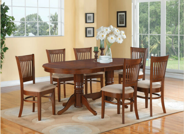 7pc Oval Dinette Dining Room Set Table 6 Microfiber Upholstered Chairs Espresso