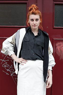 Astrid Uhlendorff Giacca Di Pelle Giubbotto Seta 90er True Vintage 90s Jacket Silk-mostra Il Titolo Originale