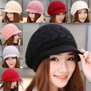 Women Ladies Chunky Cable Knit Visor Brim Winter Hat Beanie Cap ... 880606f3394