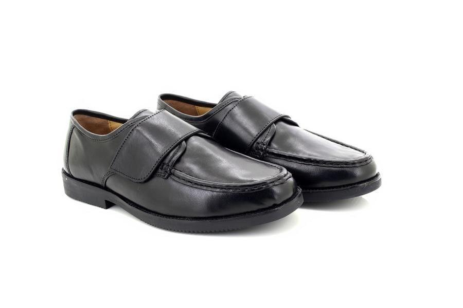 Herren Lucini Verschluss Schwarzes Leder Touch Verschluss Lucini Komfort Förmliche Schuhe 4ad9eb
