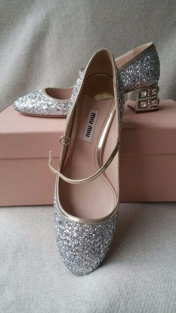 76947dae537b NIB Miu Miu Prada Glitter Mary Jane SIlver Pump 35.5 Jeweled Heel Crystal  Shoes