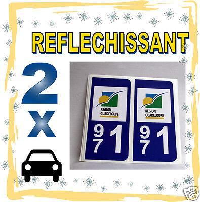 2 Stickers Reflechissant Département 971 Rétroréfléchissant Immatriculation Auto Speciale Kopen