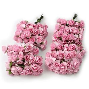 Details About 144x Mini Petite Artificial Paper Rose Bud Flower Wedding Card Candy Popular