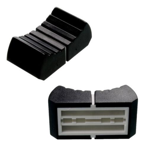 2 prof FADER KNOB BLACK fit T-BAR ribbed 13x25mm slider pot mixer replacement