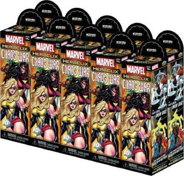 Heroclix Marvel caos Guerra Ladrillo 10 intensificadores Nuevo Sellado