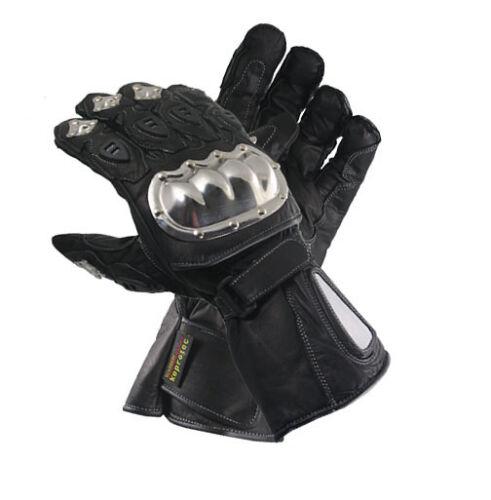 Leder Motorrad Handschuhe mit Edelstahl Protektoren von Xelement XG1470 black