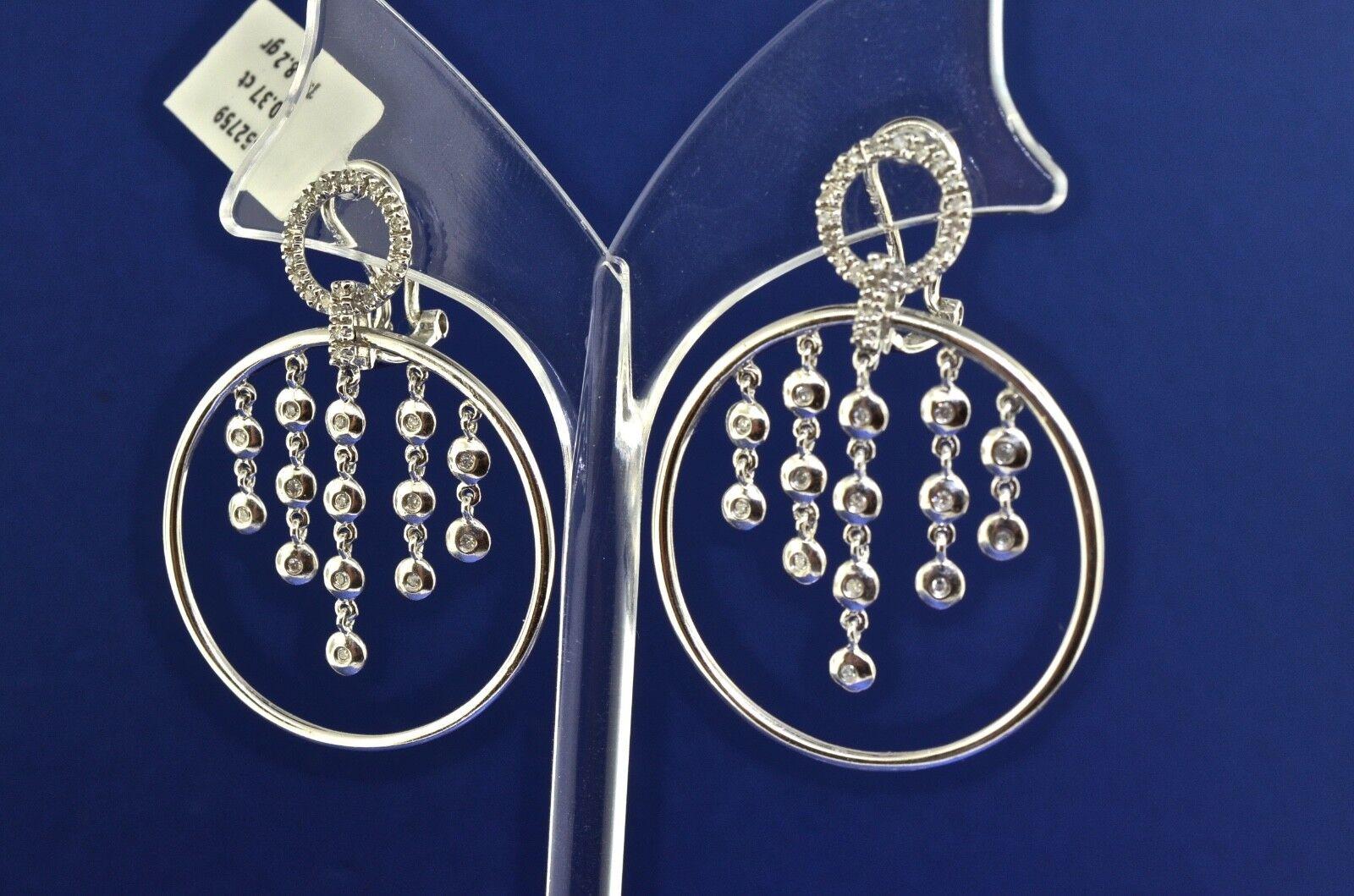 14k White gold And Diamond Hoop Earrings