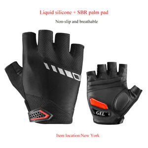 ROCKBROS-Cycling-Bike-Breathable-Pad-Anti-slip-Shockproof-Gel-Short-Gloves-Black