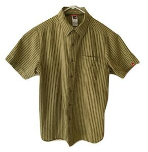 The-North-Face-Shirt-Men-039-s-Large-Green-Striped-Short-Sleeve-Chest-Pocket