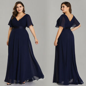 54a60d28215 Ever-Pretty Long Plus Size Formal Evening Gowns Double V-neck ...