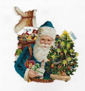 BLUE-VICTORIAN-L-amp-B-SANTA-CLAUS-PRETTY-CHRISTMAS-TREE-Antique-Diecut-Scrap-6-5-034
