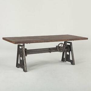 Image Is Loading Industrial Crank Dining Table Iron Base Wood Top