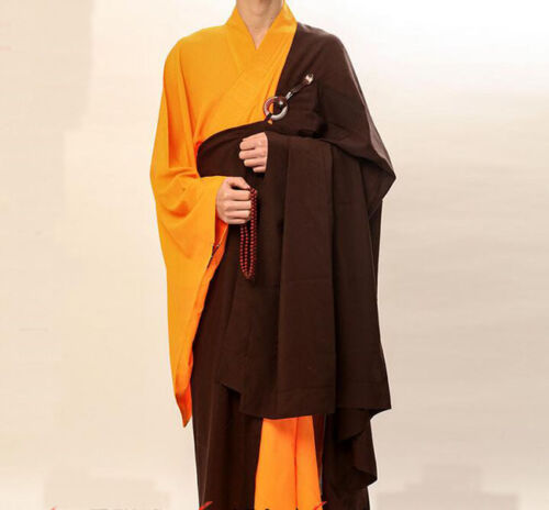 7434 Coffee Kesa Zen Buddhist Monk Manyi Robe Lay Master Cassock Meditation Gown