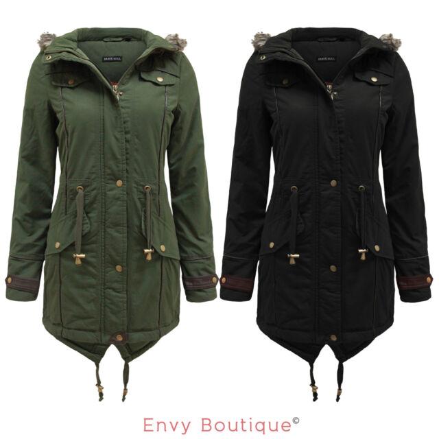 Ladies Faux Fur Hood Fishtail Parka Jacket Military Coat Oversized 6-20