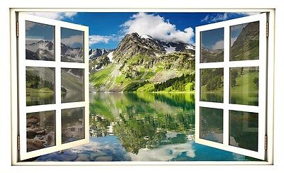 """24"""" Window Scape Instant View Mountain Lake #2 Wall Sticker Decal Graphic Mural"""