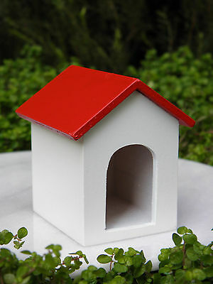 Miniature Dollhouse FAIRY GARDEN Accessories  ~ Red & White Dog House ~ NEW