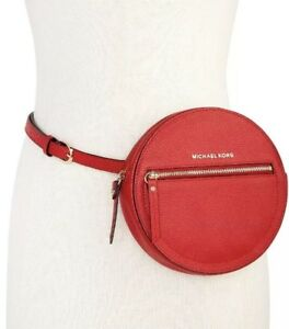 84b96262 Details about New Michael Kors Round Pebble Leather Red/Gold L/XL Fanny Pack