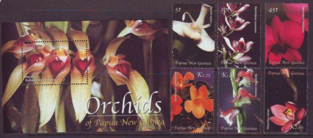 PAPUA NEW GUINEA 2002 ORCHIDS SET 6  + MINISHEET  MINT NEVERHINGED