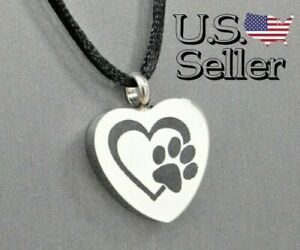 Pet Memorial Jewelry Urn Pendant Keepsake Paw Print Series Pet Memorial Cremation Jewelry for Dog or Cat Ashes Open Heart with Wing