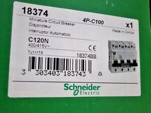 Image is loading 18374-C120N-Circuit-Breaker-Schneider-Electric-4P-100A-