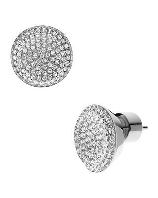 Silver/Gold/Rose Gold Pave Style stud Engraved Logo Crystal  Earrings