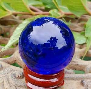 Blue Glass Crystal Ball Wood Stand 40mm Divination Gazing Sphere Scrying Orb