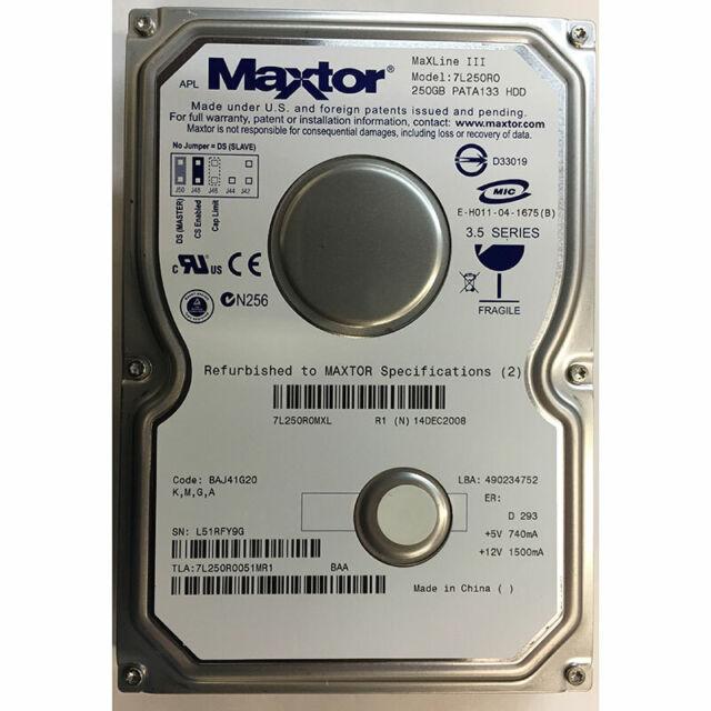 Maxtor 250GB, 7200RPM, IDE, - 7L250R0