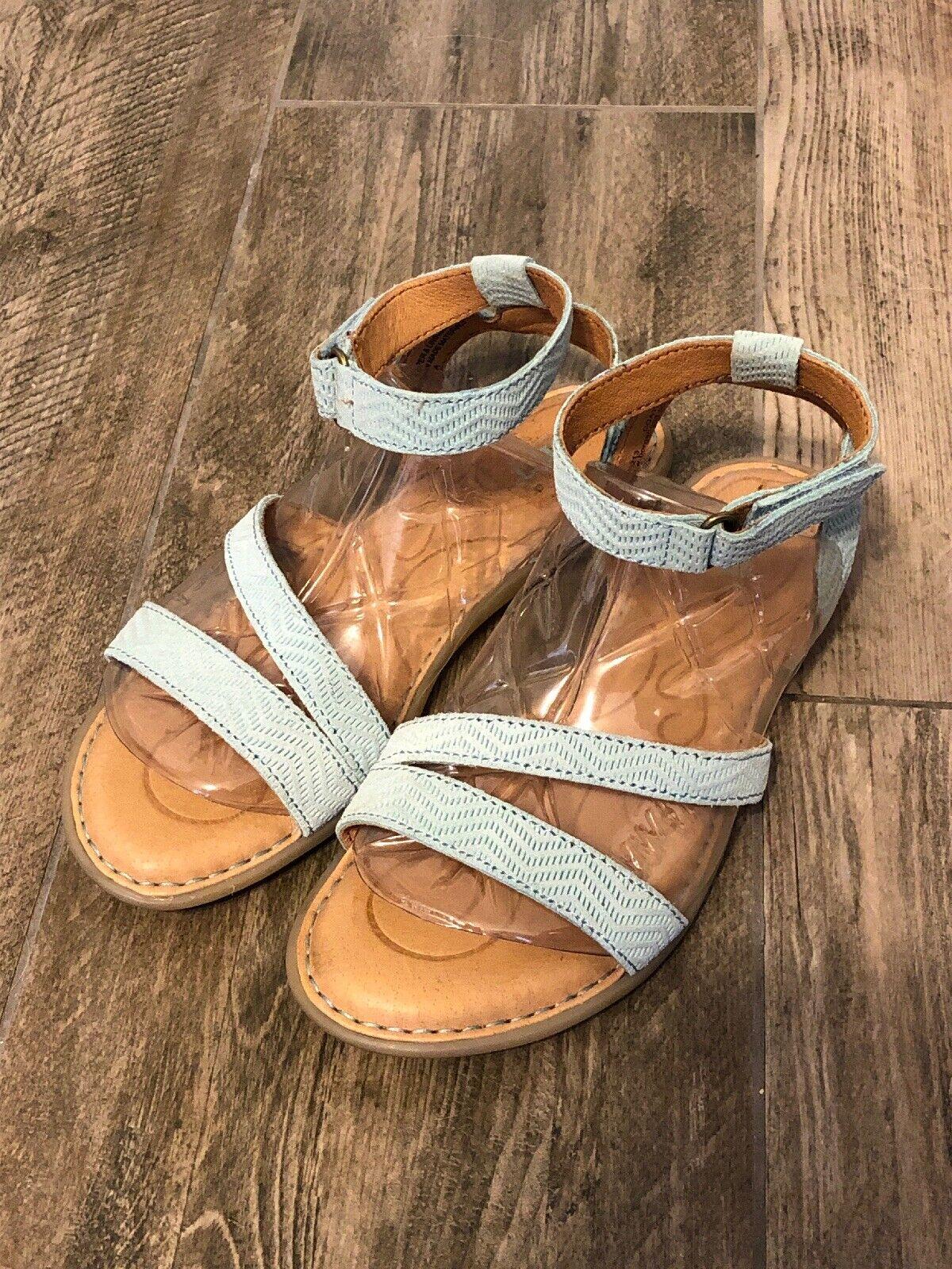 Born August Sandal shoes Aqua Green bluee Cyan Leather F20213 Womens US 6 Med