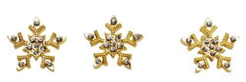 SPARKLING SMALL SNOWFLAKE TAC PIN  on POEM CARD    goldtone  ~   Set of 3