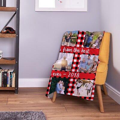 Large Warm Sofa Fleece Personalised Red Gingham Design Photo Blanket 9 Images