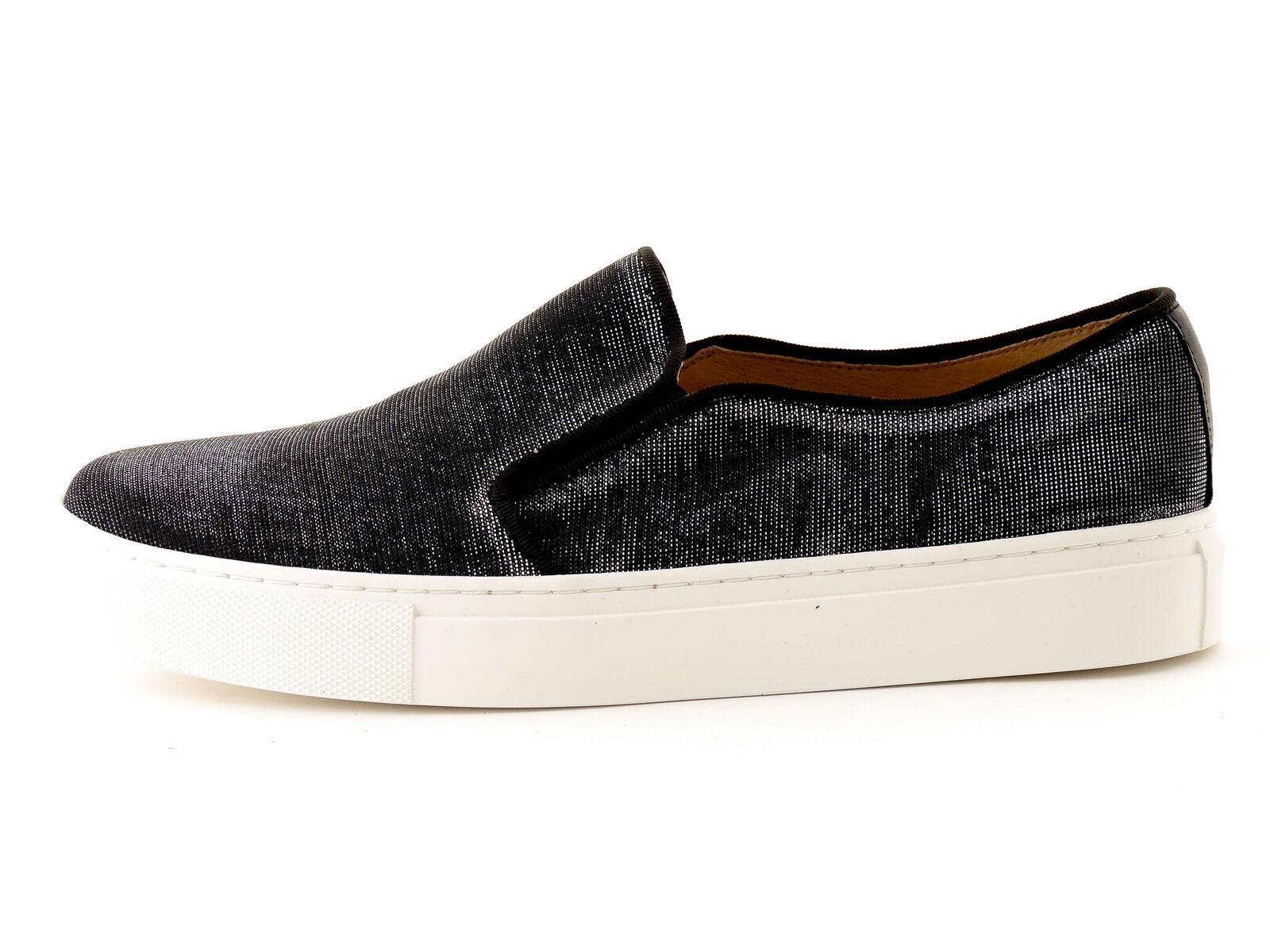 KMB Schuhe Slipper Slip On Notturno schwarz Glitzer Textil Gummi Leder